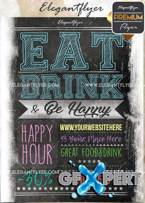 Happy Hour V50 Flyer PSD Template + Facebook Cover