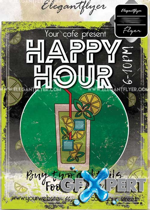 Happy Hour V49 Flyer PSD Template + Facebook Cover