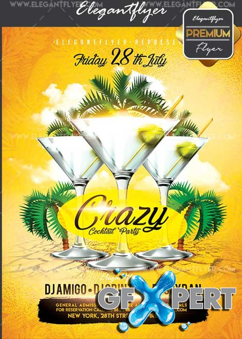 Crazy Cocktail Party V17 Flyer PSD Template + Facebook Cover