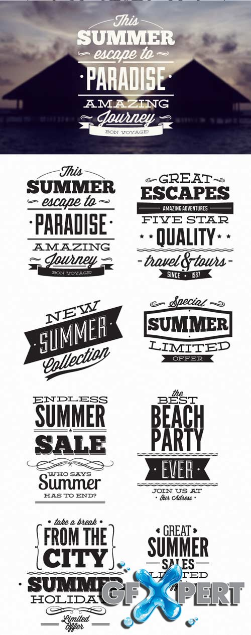 Super Premium Typography Set - Summer typographic elements
