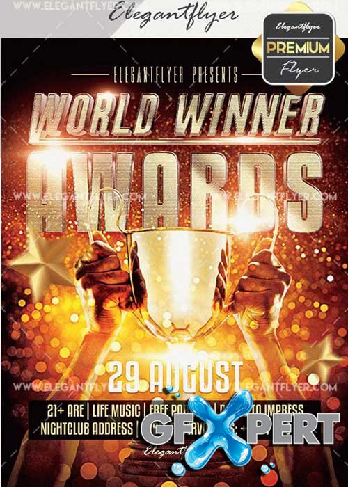 World Winner Awards V10 Flyer PSD Template + Facebook Cover
