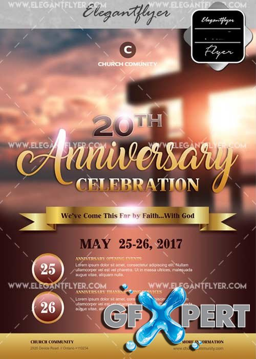 Anniversary Celebration V4 Flyer PSD Template + Facebook Cover
