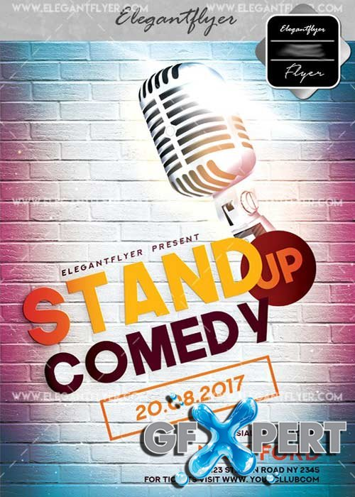 Stand up Comedy V25 Flyer PSD Template + Facebook Cover