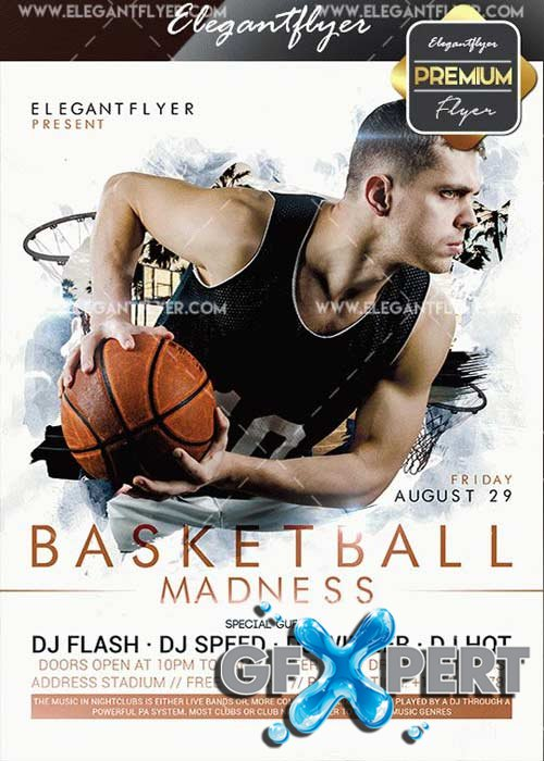 Basketball Madness V16 Flyer PSD Template + Facebook Cover