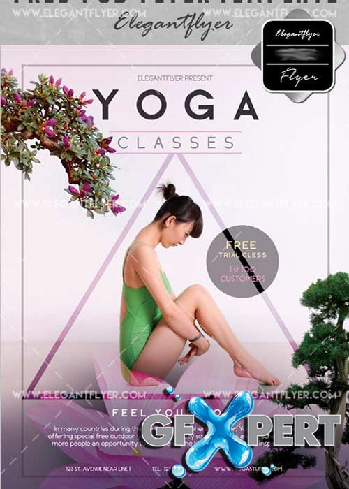 Yoga V30 Flyer PSD Template + Facebook Cover