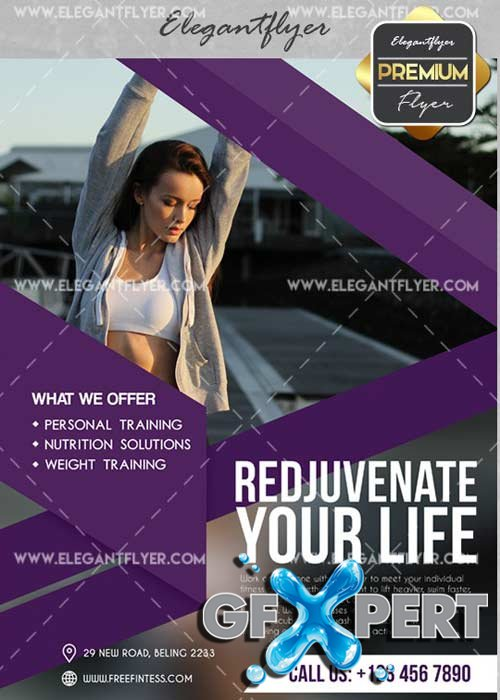 Fitness V49 Flyer PSD Template + Facebook Cover