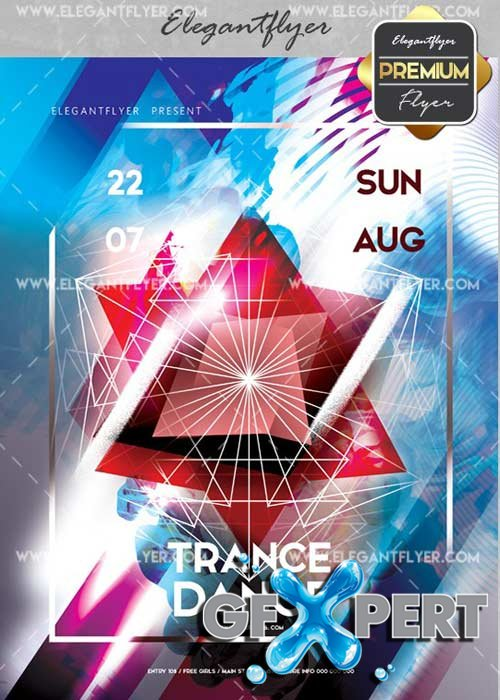 Trance Dance V17 Flyer PSD Template + Facebook Cover