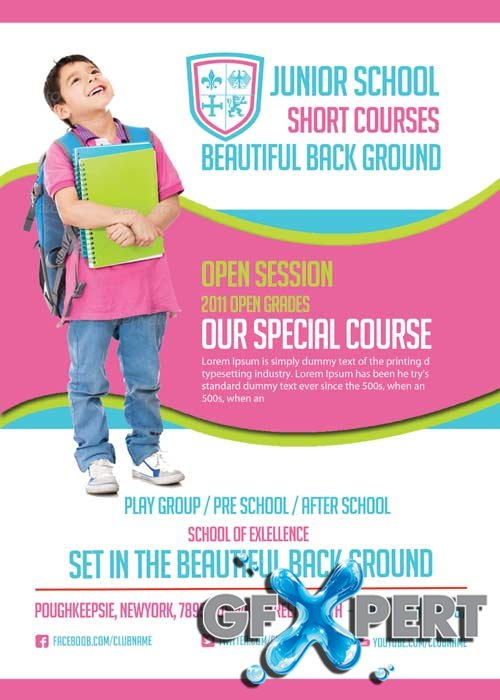 Back to School V41 Flyer PSD Template + Facebook Cover
