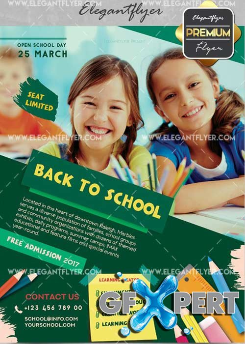 Back to School V40 Flyer PSD Template + Facebook Cover