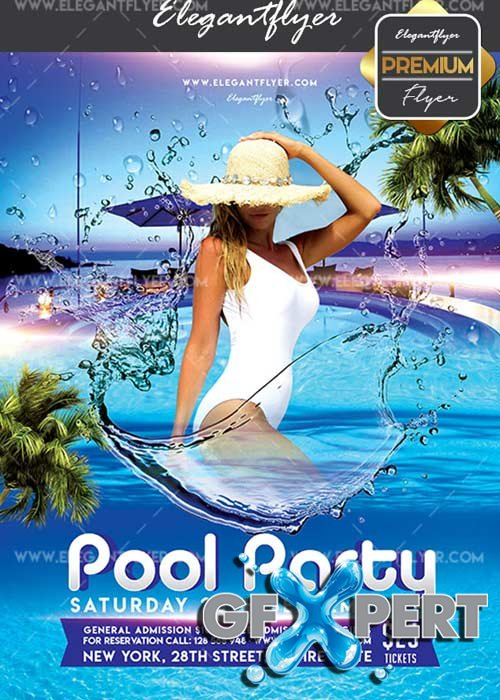 Pool Party V05 Flyer PSD Template + Facebook Cover
