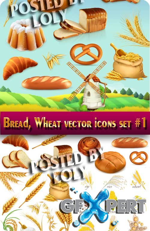 Ears, wheat vector icons set #1  - Stock Photo