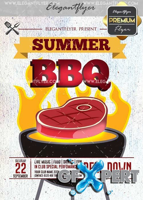 Summer BBQ V17 Flyer PSD Template + Facebook Cover