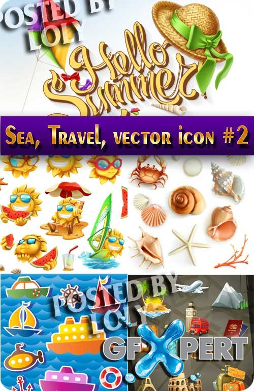 Sea, Travel, vector icon #2 - Stock Vector