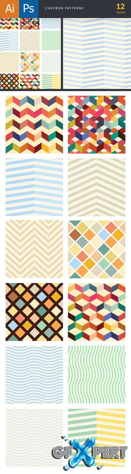 Super Premium Patterns Bundle - Chevron Stripes - Stock Vector