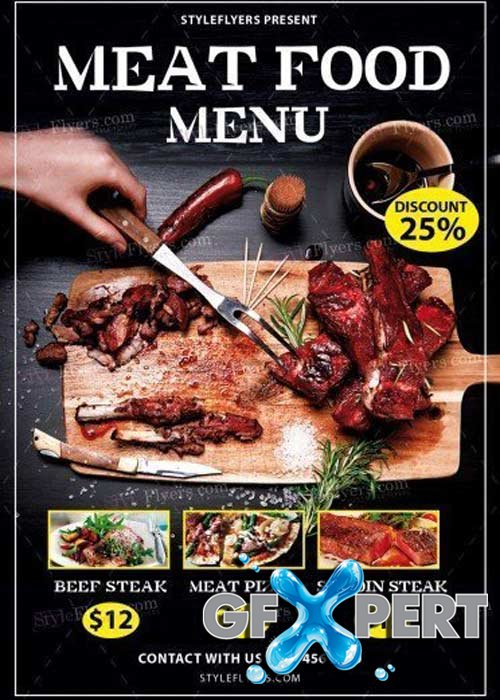 Meat Food Menu V14 PSD Flyer Template