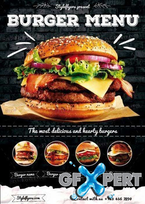 Burger Menu V32 PSD Flyer Template