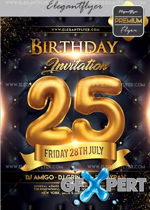 Birthday Invitation V02 Flyer PSD Template + Facebook Cover