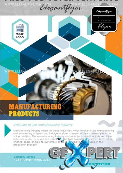 Manufacturing Producrts V4 Flyer PSD Template + Facebook Cover