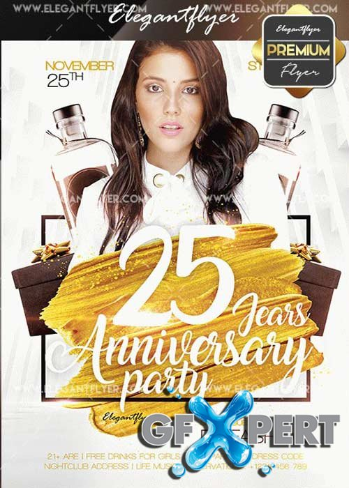 Anniversary Party V20 Flyer PSD Template + Facebook Cover