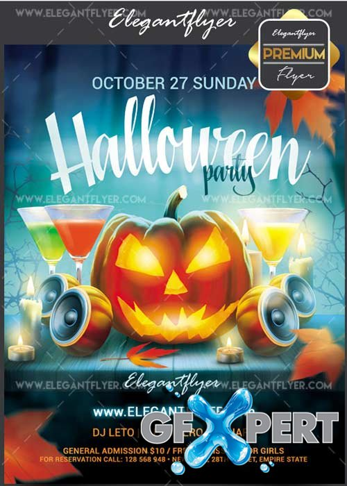 Halloween party 2017 V10 Flyer PSD Template + Facebook Cover