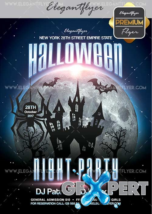 Halloween Night Party V04 Flyer PSD Template + Facebook Cover