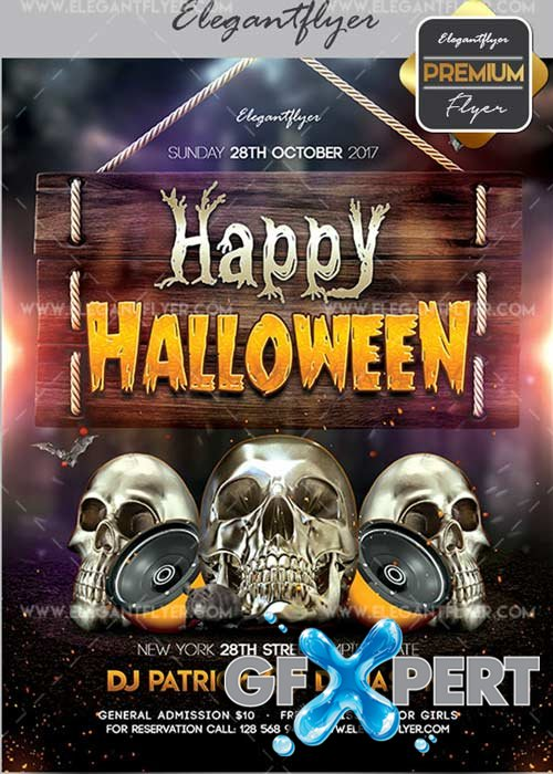 Happy Halloween V03 Flyer PSD Template + Facebook Cover