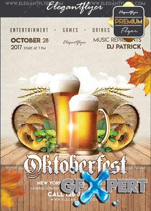 Oktoberfest 2017 V1 Flyer PSD Template + Facebook Cover