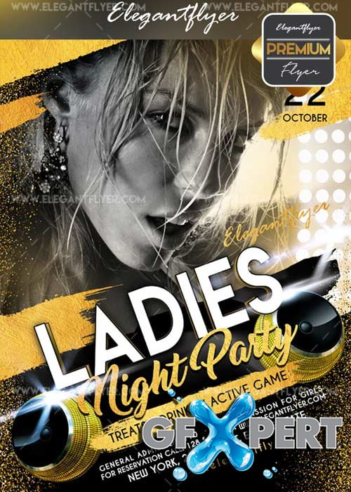 Ladies Night Party 2017 V10 Flyer PSD Template + Facebook Cover