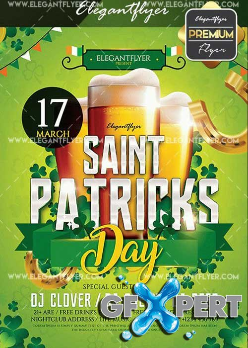 St. Patricks Day V10 2017 Flyer PSD Template + Facebook Cover
