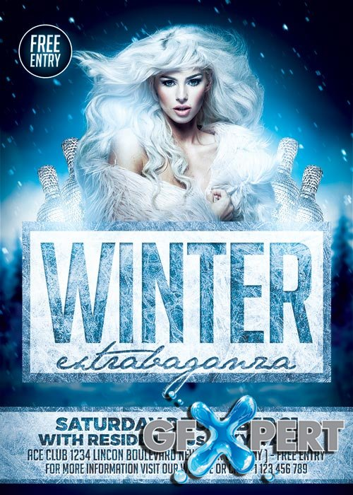 Elegant Winter Party V1 2017 Flyer Template