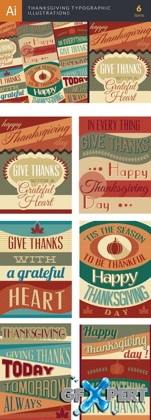 Thanksgiving typographic illustrations - Stock Vector