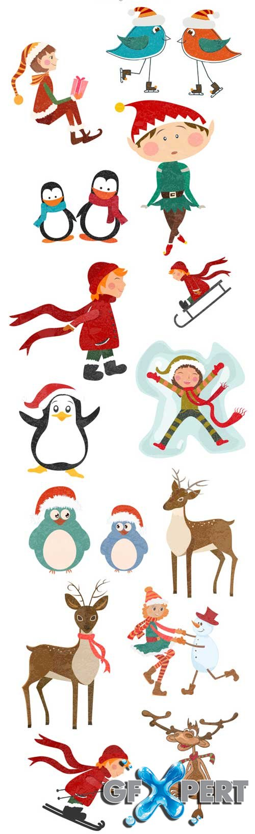 Christmas kids and animals - Stock Vector
