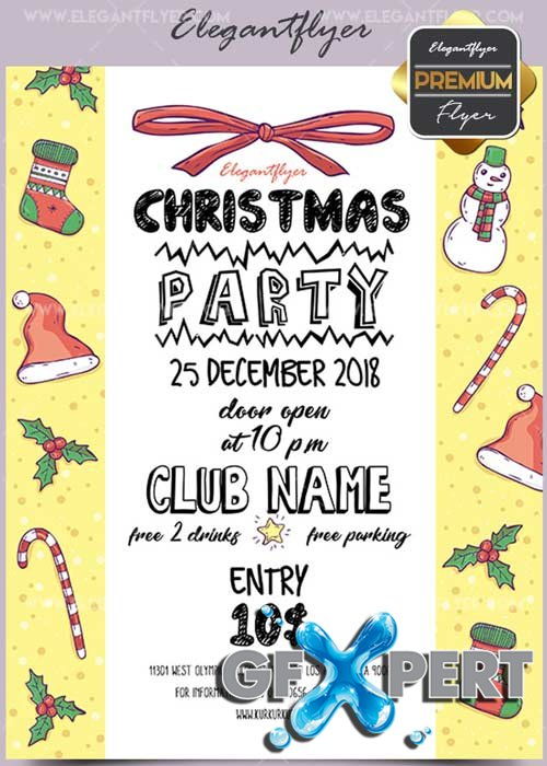 Christmas Party V26 2017 Flyer PSD Template + Facebook Cover
