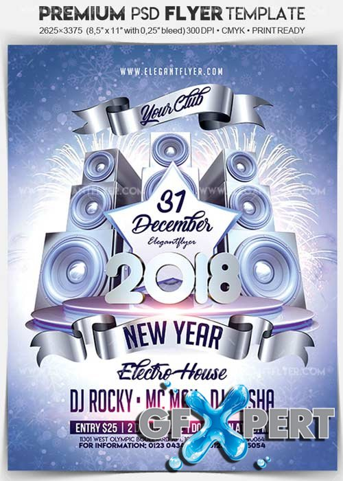 Free New Year Party 2018 V19 Flyer PSD Template + Facebook