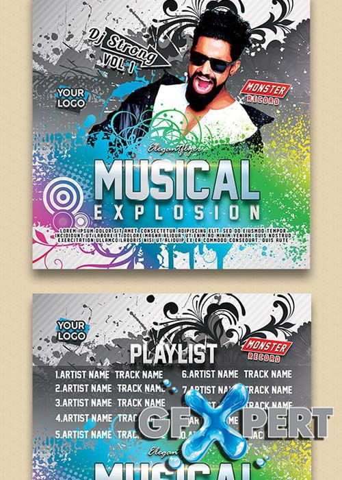 Musical Explosion V1 Premium CD Cover PSD Template