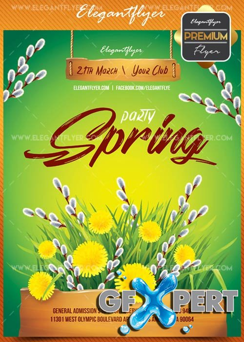 Spring party V1 2018 Flyer PSD Template + Facebook Cover