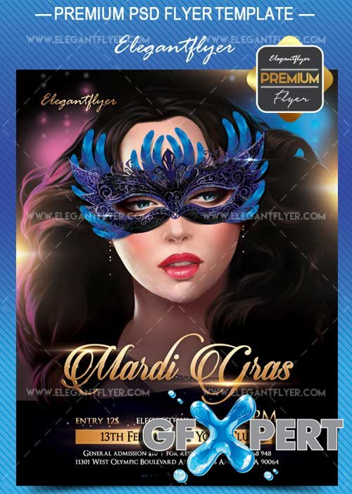Mardi Gras V15 2018 Flyer PSD Template + Facebook Cover