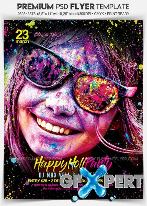 Happy Holi Party V4 2018 Flyer PSD Template + Facebook Cover