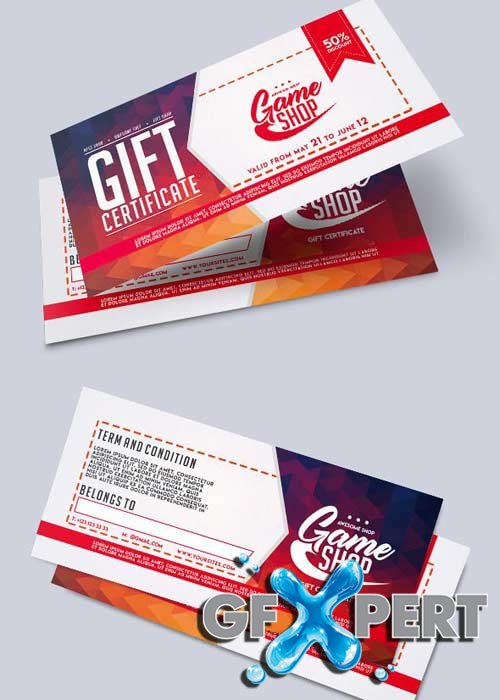 Game Shop V1 2018 Premium Gift Certificate PSD Template