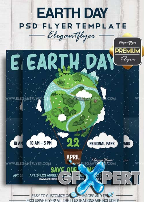 Earth Day V1 2018 Flyer PSD Template + Facebook Cover