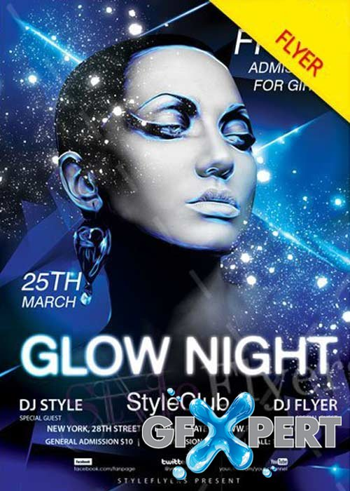 Glow Night Paty V3 2018 Flyer PSD