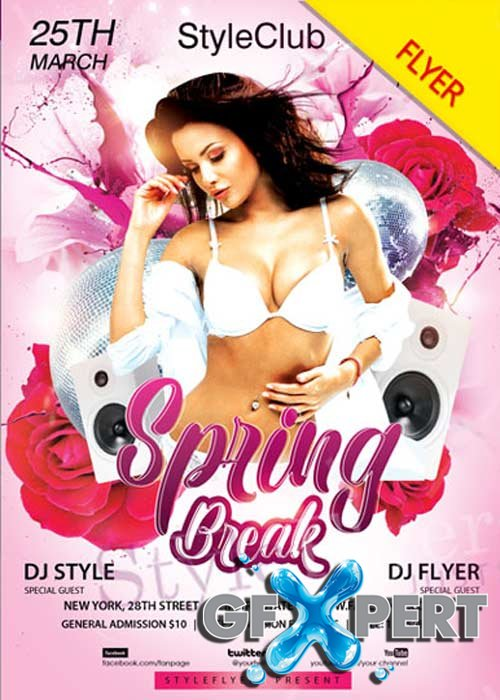 Spring Break V8 2018 PSD Flyer Template