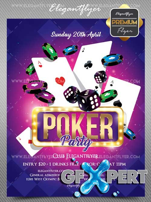 Poker Party V1 2018 Flyer PSD Template + Facebook Cover
