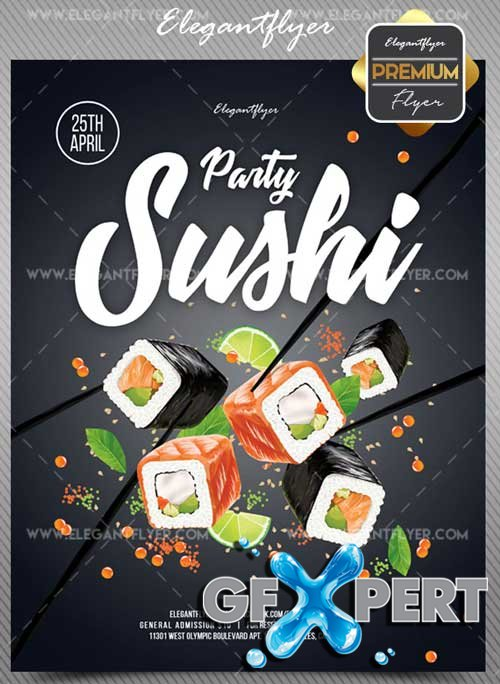 Sushi Party V1 2018 Flyer PSD Template + Facebook Cover