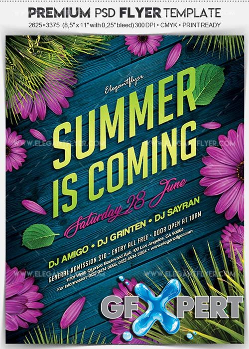 Great Free Summer Is Coming V1 2018 Flyer PSD Template + Facebook Cover Download