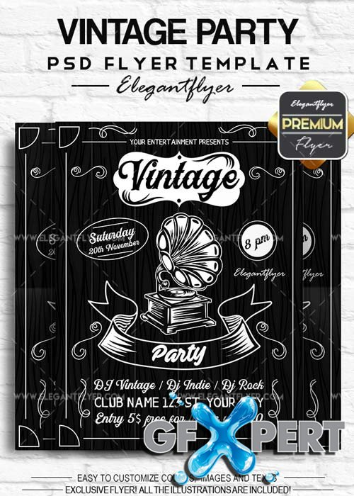 Vintage Party V11 2018 Flyer PSD Template + Facebook Cover