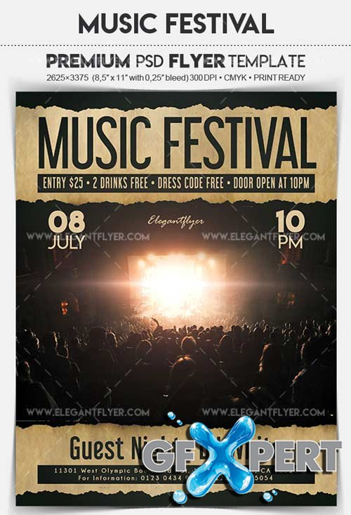 Music Festival V3 2018 Flyer PSD Template