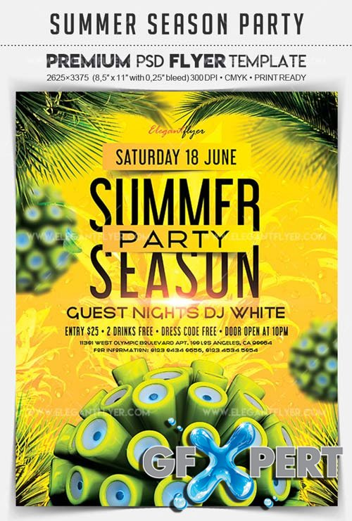 Summer Season Party V3 2018 Flyer PSD Template