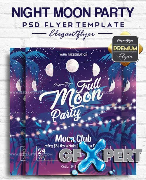 Night Moon Party V5 2018 Flyer PSD Template