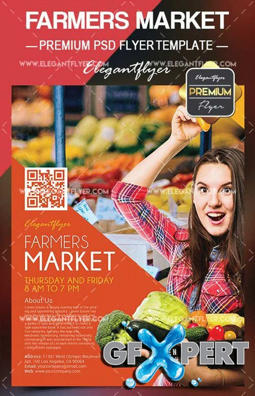 Farmers Market V3 2018 Flyer PSD Template + Facebook Cover